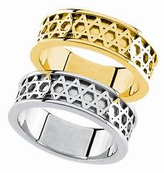 quot star of david quot wedding band in 14k yellow or white gold