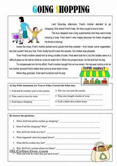 going shopping reading comprehension worksheets reading