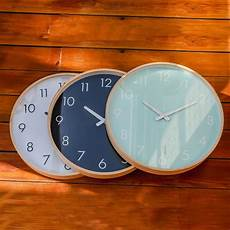 brand hippih silent wall clock wood 12 inches brief living