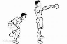 kettlebell squat swing two arm kettlebell squat swings workoutlabs exercise guide