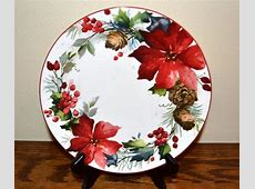 Berry XMas Poinsettia Salad Plate Pier 1 Holly Pinecones