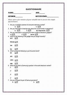 questionnaire for the survey of electronics market for school college