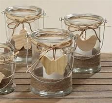 Windlicht Kerzenhalter Teelichthalter Svea Glas Holz