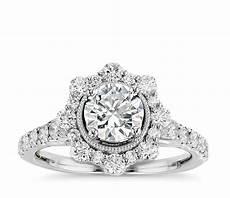 truly zac posen star halo diamond engagement ring in 14k white gold blue nile