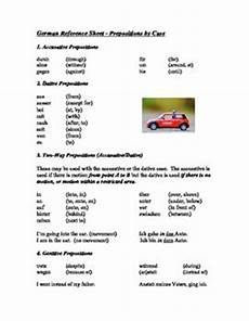 german dative worksheets 19628 handy one page reference sheet to all german prepositions listed by sheet includes