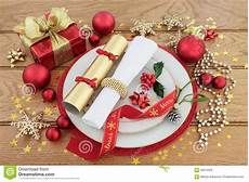 weihnachtsessen gedeck stockfoto bild flora festlich