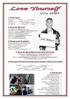 song love yourself justin bieber worksheet free esl