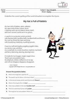 poetry comprehension worksheets with answers 25239 primaryleap co uk comprehension my hat is of rabbits worksheet comprehension