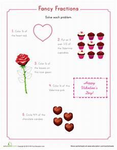 valentine fractions worksheet education com