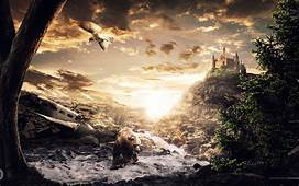 Digital Art Fantasy Landscape Bears Castle