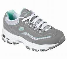 skechers memory foam air cooled lace up grey white