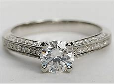Milgrained Cathedral Pave Diamond Engagement Ring in