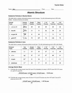atomic structure worksheet answer key excelguider com