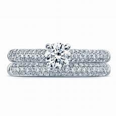 platinum brilliant diamond engagement ring with pave