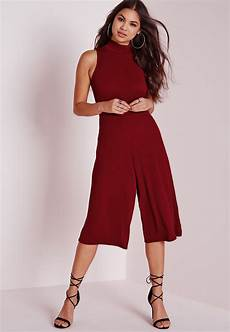 missguided high neck culotte jumpsuit burgundy in lyst
