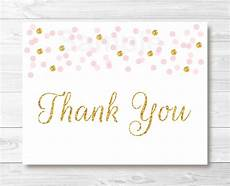 Thank You Card Template Pages by Pink Gold Glitter Confetti Folded Thank You Card Template