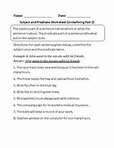 subject and predicate worksheet underlining part 2 beginner teaching ideas subject