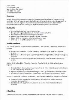 professional building maintenance engineer templates to