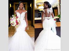 2018 Black Girl Mermaid Wedding Dresses African Illusion
