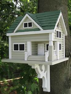 bungalow birdhouse grey with green roof green roofs bungalow and birdhouse