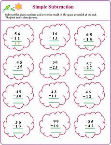 subtraction worksheets easy 10059 worksheet on simple subtraction