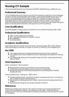 resume format for nurses in uk nursing cv sle myperfectcv
