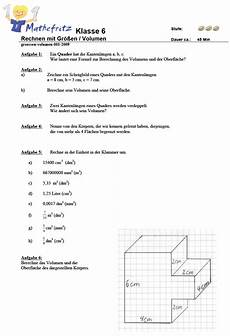 aufgaben volumen quader w 252 erfel matheaufgaben klasse 6