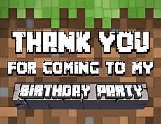 minecraft thank you card template minecraft thank you card minecraft birthday minecraft