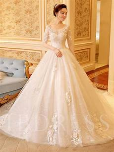 scoop neck half sleeve appliques lace ball gown wedding dress tbdress com