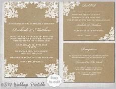 rustic wedding invitation diy quot rustic lace quot printable kraft wedding invitation template