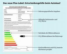 pkw label autos in energieeffizienzklassen eingeteilt