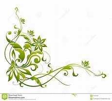 Green Flower And Vines Pattern Stock Illustration