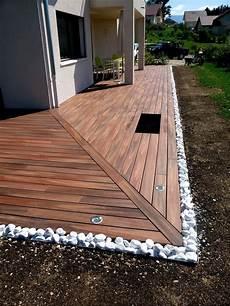 terrasse bois composite et galets terrasse bois