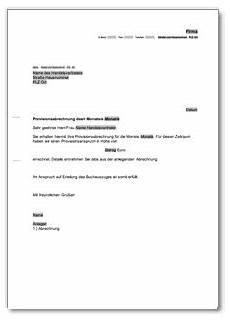 Absage Wohnung by Anschreiben Provisionsabrechnung De Musterbrief