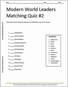 modern world leaders printable matching quiz 2 student handouts