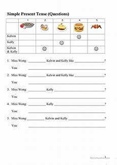 present simple questions food items english esl