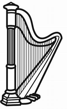 kostenlose malvorlage musik harfe zum ausmalen
