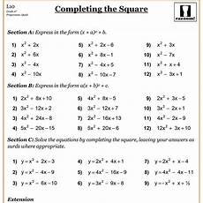completing the square cazoom maths worksheets