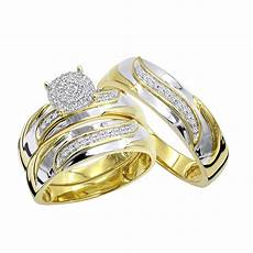 10k gold affordable diamond engagement ring wedding band trio 0 2ct