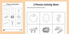 z phonics colouring worksheet activity sheet republic of ireland