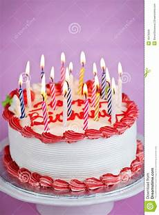 Birthday Cake With Candles Stock Photo Image Of Iced