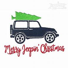 merry jeepin christmas embroidery design