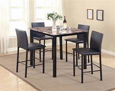new contemporary 5 piece counter height table dining set w faux marble top ebay