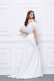 white the shoulder formal evening dress prom gown