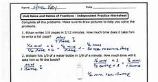 unit rates and ratios of fractions independent practice worksheet answers pdf