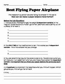 paper airplane science worksheets 15715 scientific method best flying paper airplane by the rainbow shop