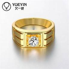 newest trendy male jewelry crystal rings wedding korean couple ring for men 24k gold plated