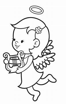kostenlose malvorlage engel engel mit harfe zum ausmalen