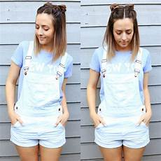 space buns white overalls insta brittmarieyt style