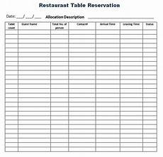 reservation log templates 4 free printable word excel sles formats exles